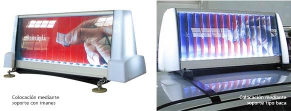 Opciones de instalación del soporte publicitario para coches publiCAR multiVISION con primas rotativos