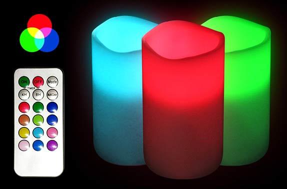 Velas LED de colores efecto RGB