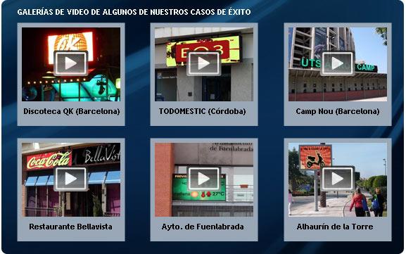 Galería de video de nuestros proyectos de pantallas gigantes de leds tricolor.