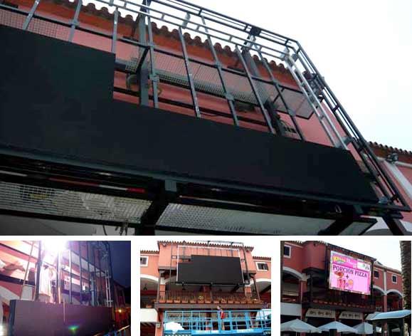Fabricación de pantallas gigantes con estructuras para fachadas