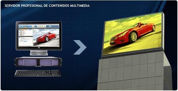 Servidor de contenidos profesional de alta gama de las pantallas gigantes tricolor.
