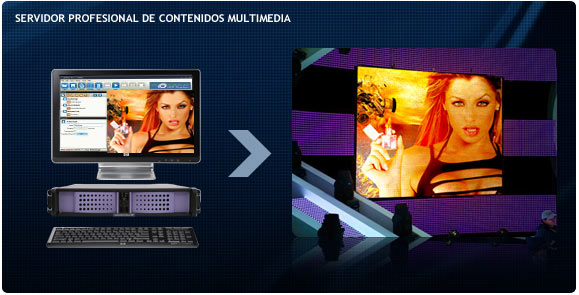 Ordenador de control de contenidos de gama alta para pantallas de leds.